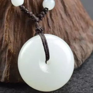 Natural UNISEX White Jade Adjustable Necklace
